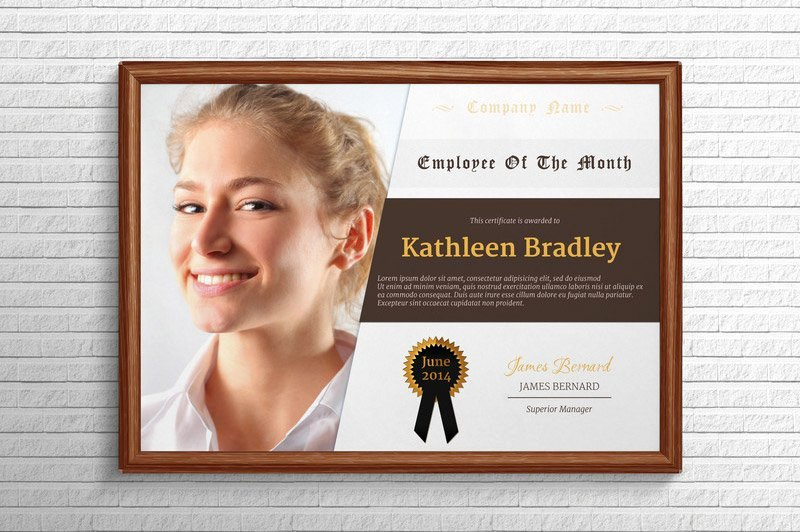 Employee Of the Month Frame Lovely Employee the Month Certificate Stationery Templates