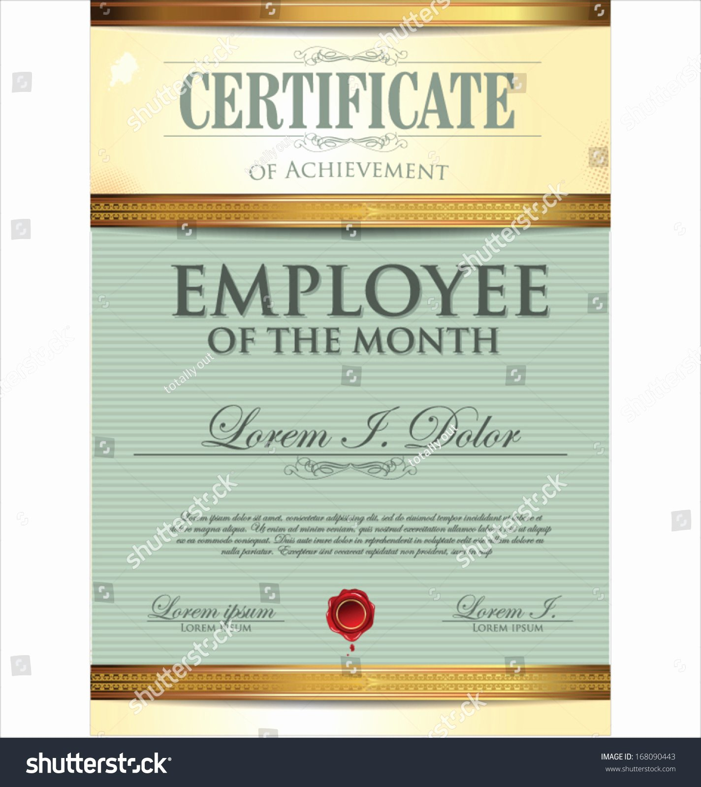 Employee Of the Month Frame Template Luxury Certificate Template Employee Month Stock Vector