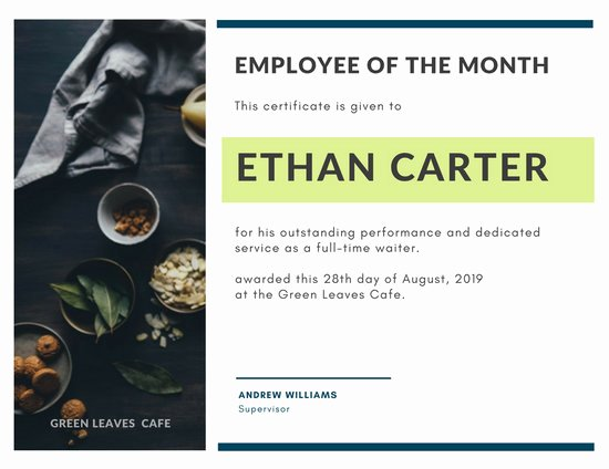 Employee Of the Month Online Beautiful Customize 1 508 Employee the Month Certificate