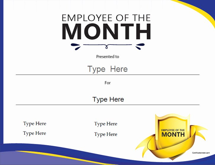Employee Of the Month Online Elegant Certificate Street Free Award Certificate Templates No
