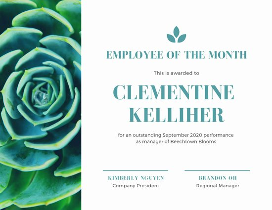 Employee Of the Month Online Elegant Customize 144 Employee the Month Certificate Templates
