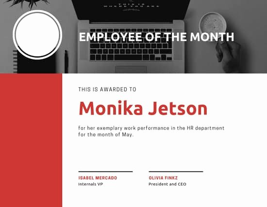 Employee Of the Month Online Free Beautiful Customize 143 Employee the Month Certificate Templates