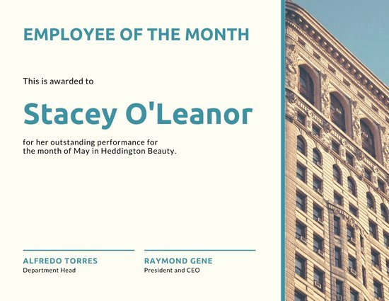 Employee Of the Month Online Free Elegant Customize 144 Employee the Month Certificate Templates