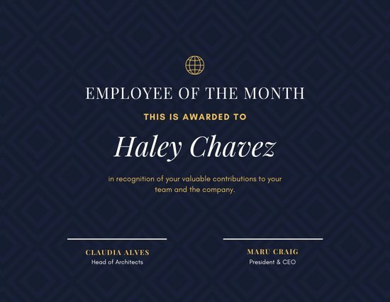 Employee Of the Month Online Free Fresh Customize 142 Employee the Month Certificate Templates