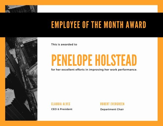 Employee Of the Month Online Free Lovely Customize 144 Employee the Month Certificate Templates