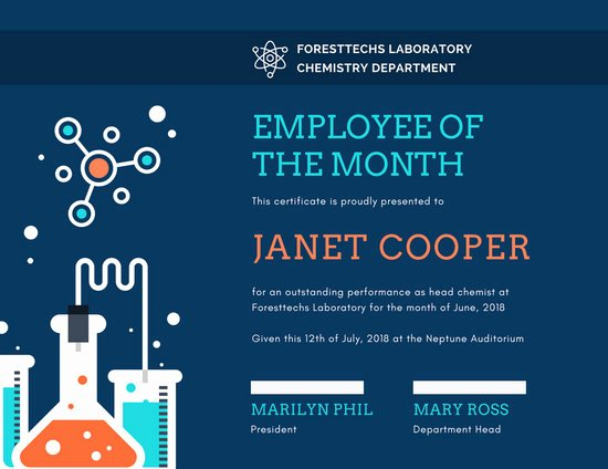 Employee Of the Month Online Free New Customize 1 508 Employee the Month Certificate