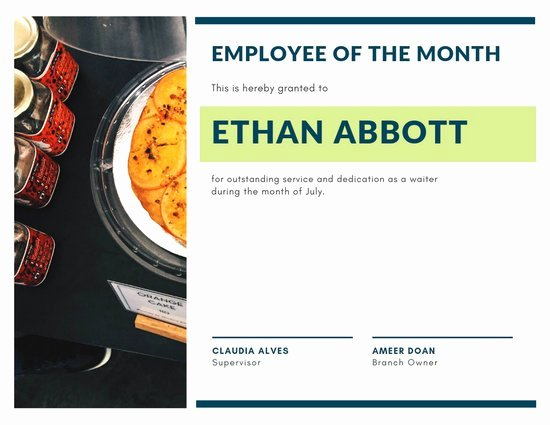 Employee Of the Month Online Free New Customize 144 Employee the Month Certificate Templates
