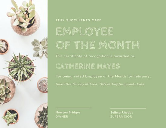 Employee Of the Month Online New Customize 1 508 Employee the Month Certificate