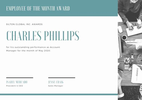 Employee Of the Month Online New Customize 144 Employee the Month Certificate Templates