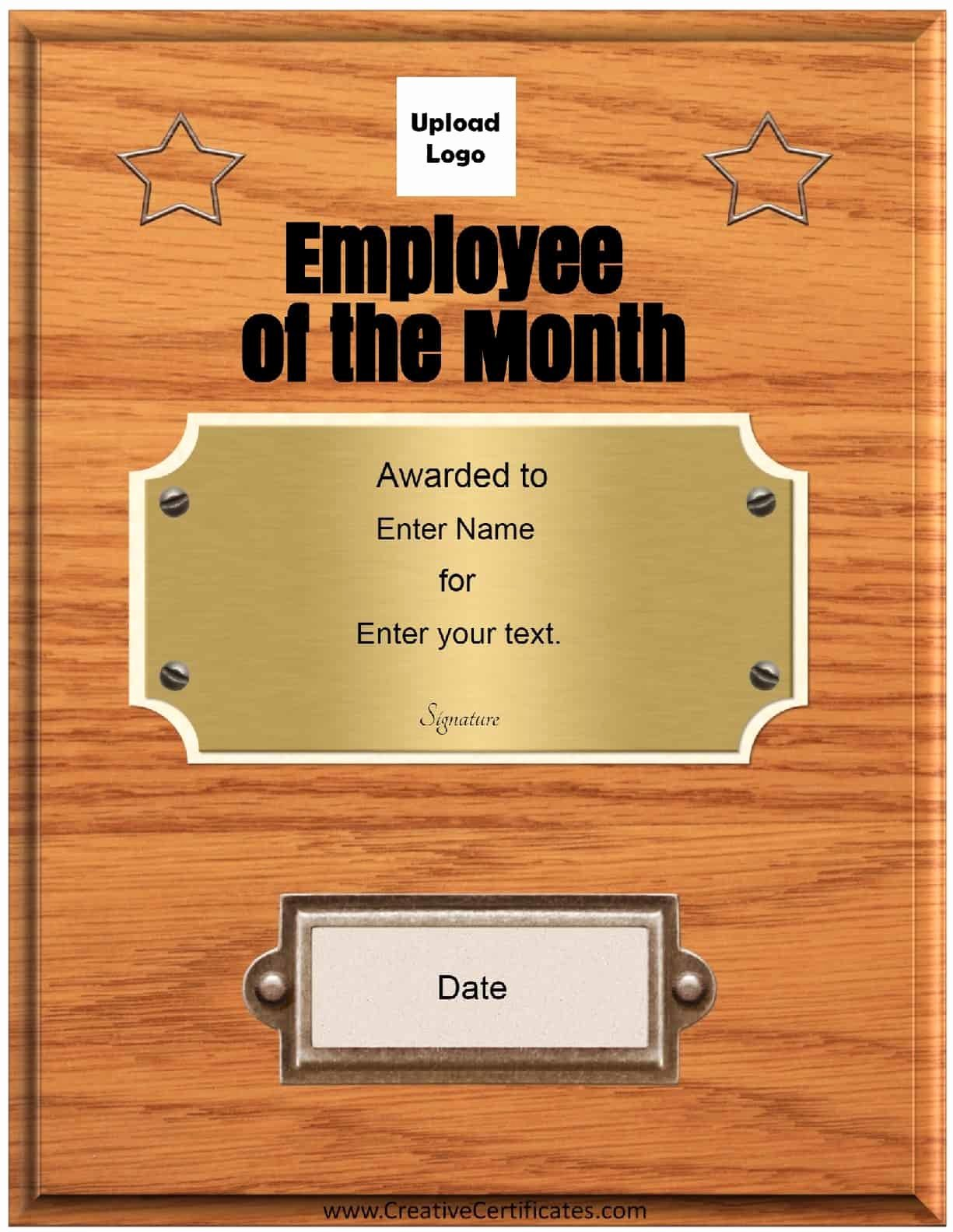 Employee Of the Month Photo Best Of Free Custom Employee Of the Month Certificate