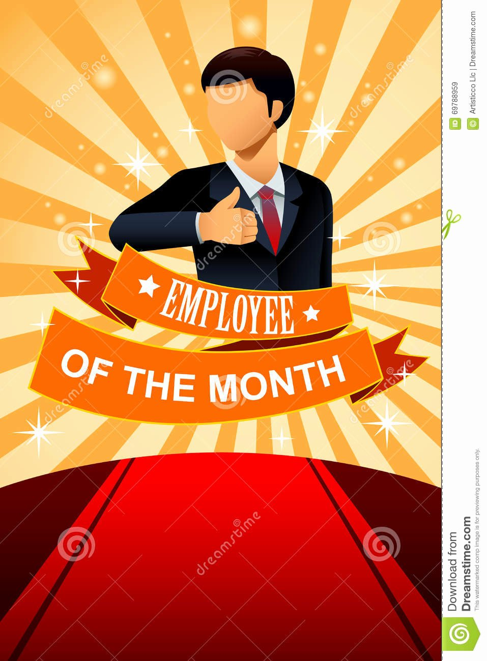 Employee Of the Month Photo Frame Template Awesome Employee the Month Poster Frame Stock Vector