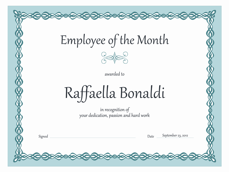 Employee Of the Month Photo Frame Template Beautiful Certificate Employee Of the Month Blue Chain Design