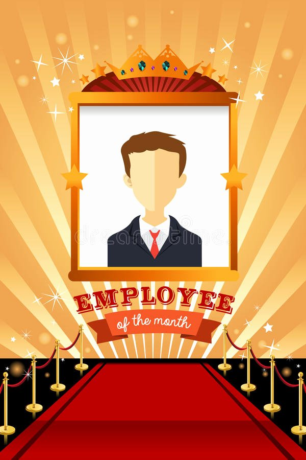 Employee Of the Month Photo Frame Template Elegant Employee the Month Poster Frame Stock Vector