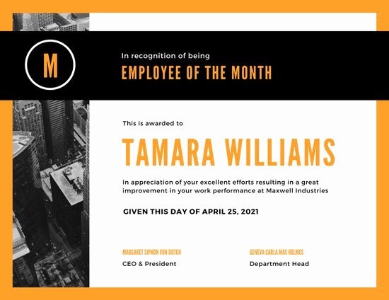 Employee Of the Month Photo Luxury Customize 1 508 Employee the Month Certificate