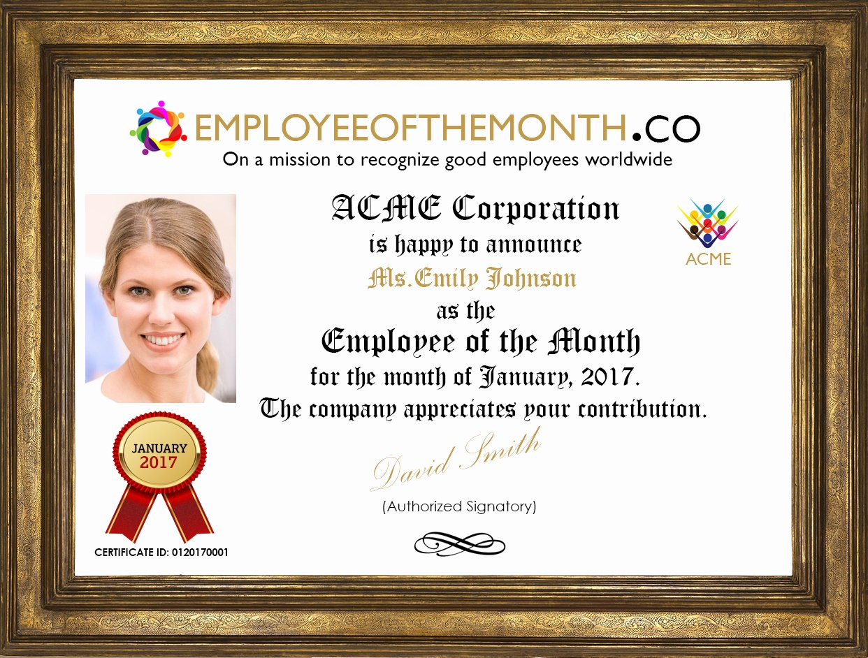 Employee Of the Month Photo New Corporate Branded Employee Of the Month Demo Page with