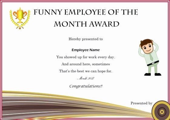Employee Of the Month Plaque Template Awesome Funny Employee Of the Month Award