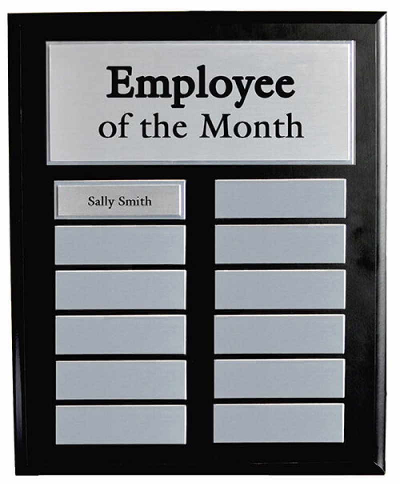 Employee Of the Month Plaque Template Best Of Employee Of the Month Black Master Board W Silver Plates