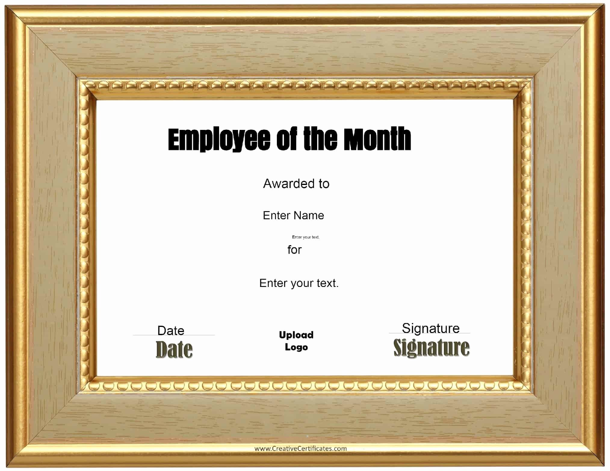 Employee Of the Month Plaque Template Fresh Free Custom Employee Of the Month Certificate