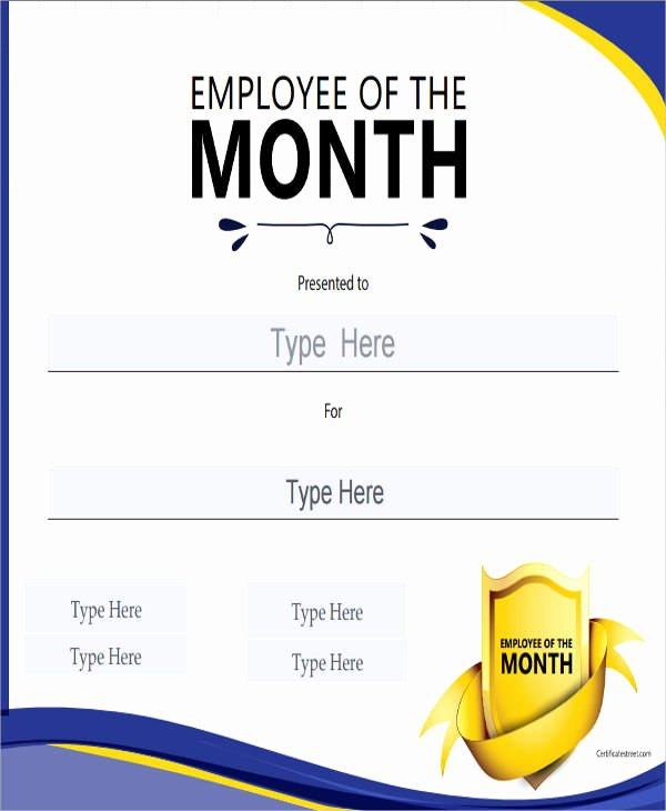 Employee Of the Month Plaque Template Luxury 23 Blank Award Certificate