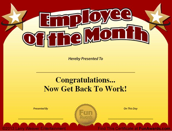 Employee Of the Month Plaque Template New Employee Of the Month Certificate Free Funny Award Template