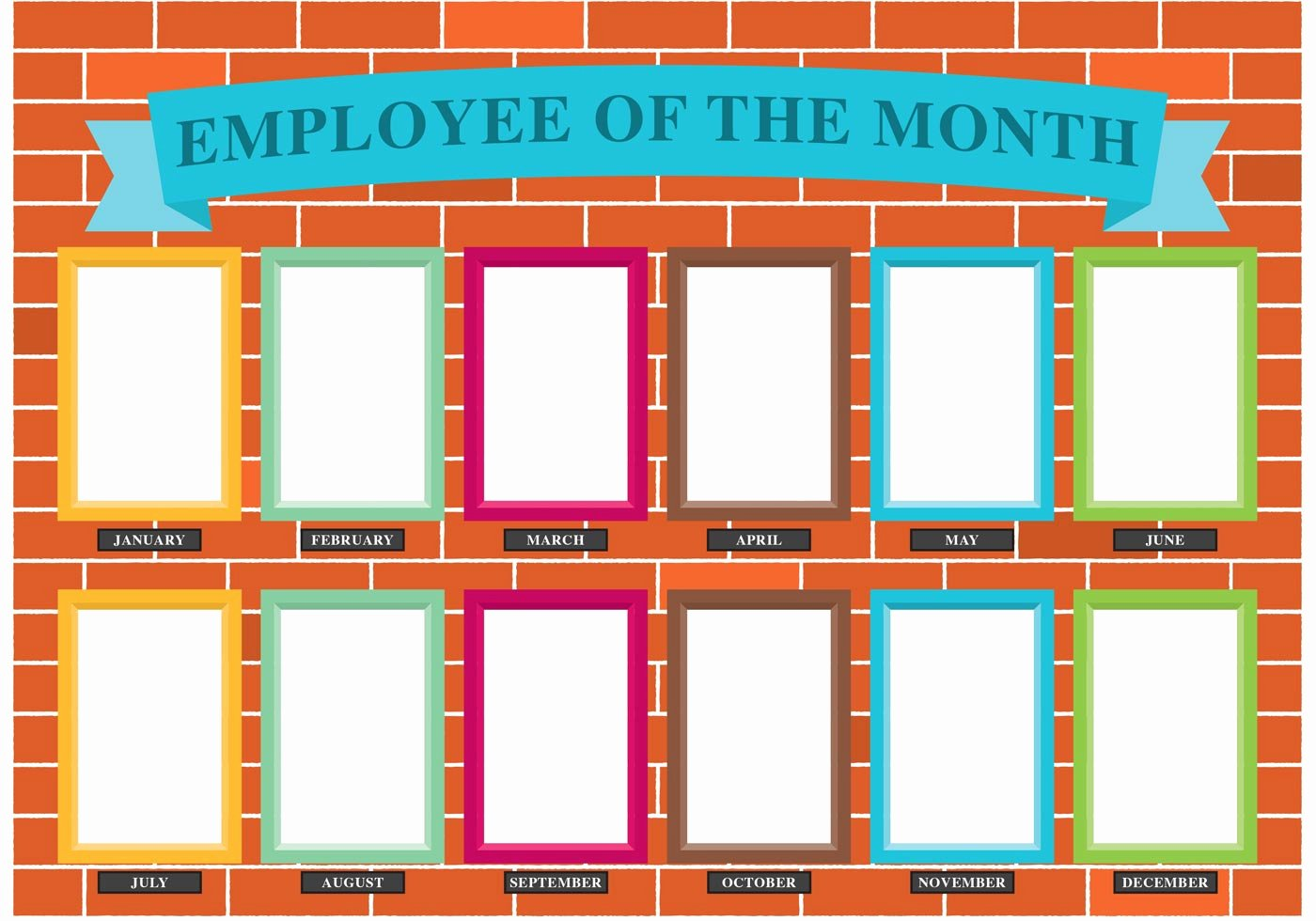 Employee Of the Month Poster Template Fresh Employee the Month Wall Vector Download Free Vectors