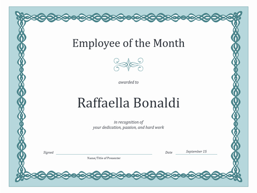 Employee Of the Month Templates Free Awesome Certificate for Employee Of the Month Blue Chain Design