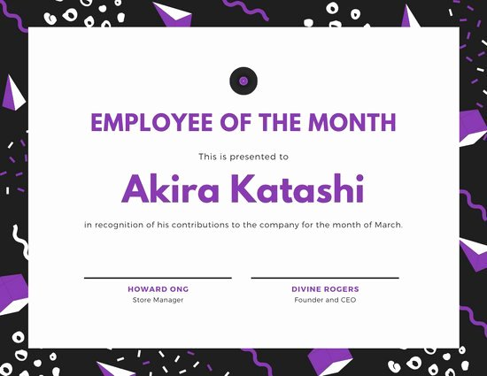 Employee Of the Month Templates Free Luxury Customize 142 Employee the Month Certificate Templates