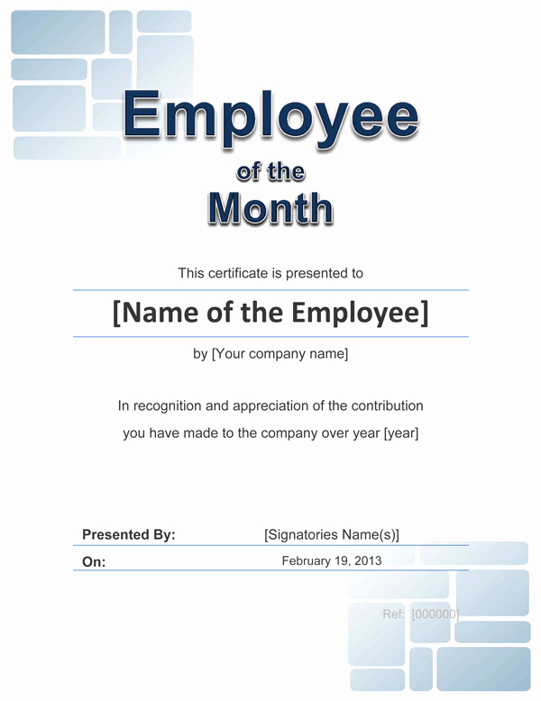 Employee Of the Month Templates Free Luxury Employee Award Cetificate