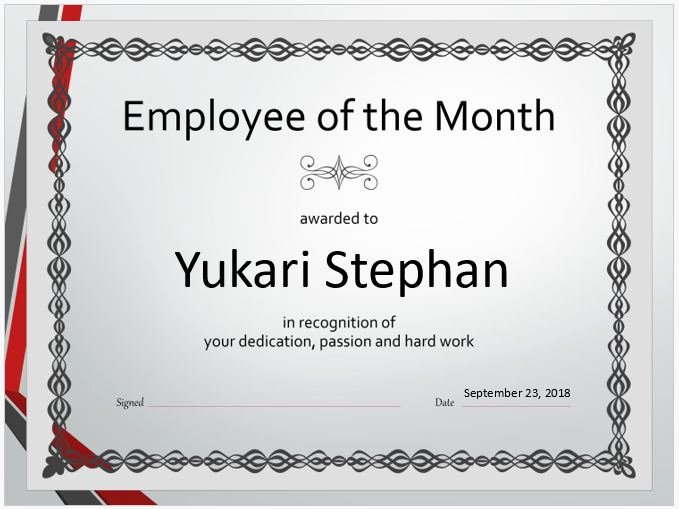 Employee Of the Month Templates Free Luxury Employee Salary Certificate Templates for Ms Word
