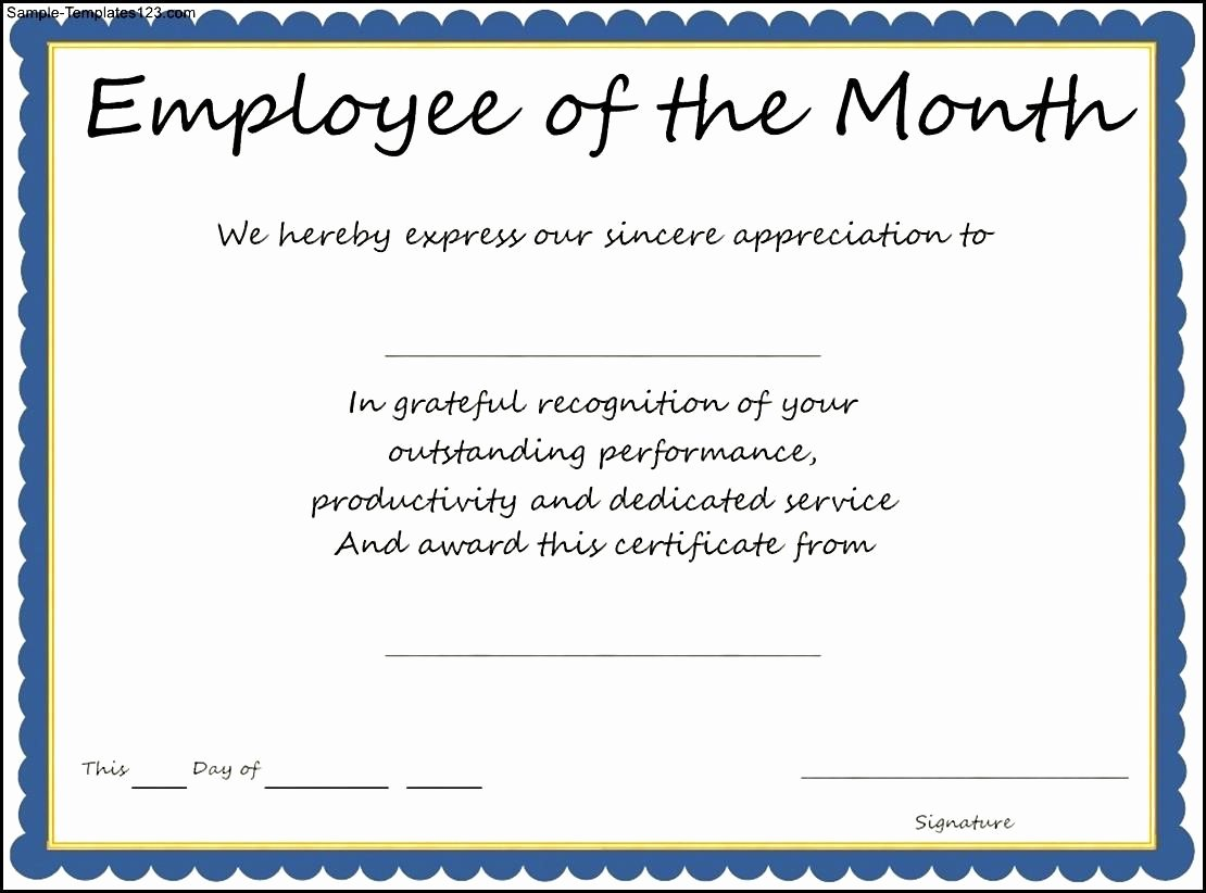 Employee Of the Month Templates Free Luxury Employee the Month Template