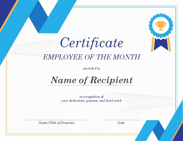 Employee Of the Month Templates Free New Employee Of the Month Certificate