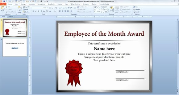 Employee Of the Month Templates Free New Free Employee Templates for Powerpoint Presentations