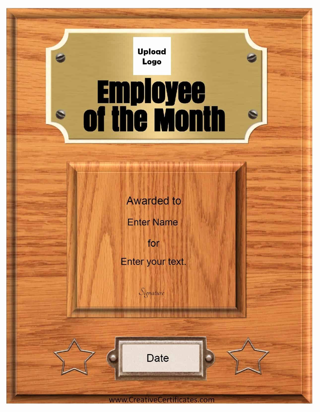 Employee Of the Year Award Template Best Of Free Custom Employee Of the Month Certificate