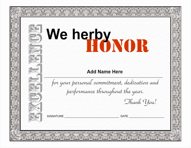 Employee Of the Year Award Template Elegant Certificate Ideas for Employees