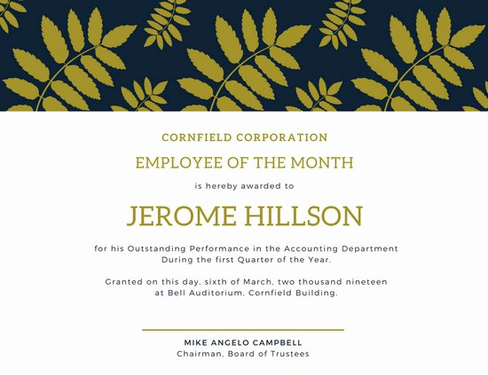 Employee Of the Year Award Template Inspirational Blue and Gold Fern Employee Of the Month Certificate