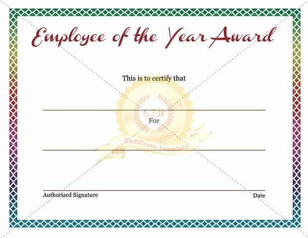 Employee Of the Year Award Template Inspirational Employee Of the Year Certificate