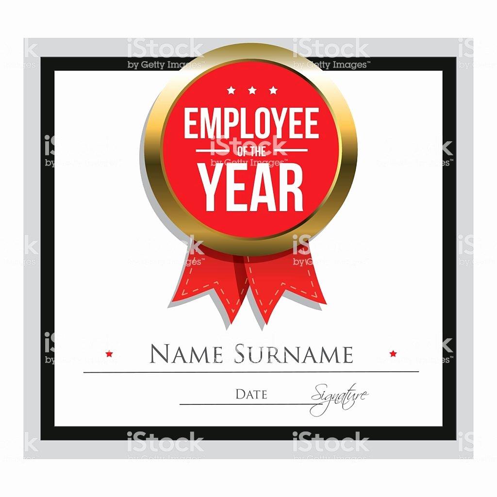 Employee Of the Year Award Template Inspirational Employee the Year Certificate Template Stock Vector Art