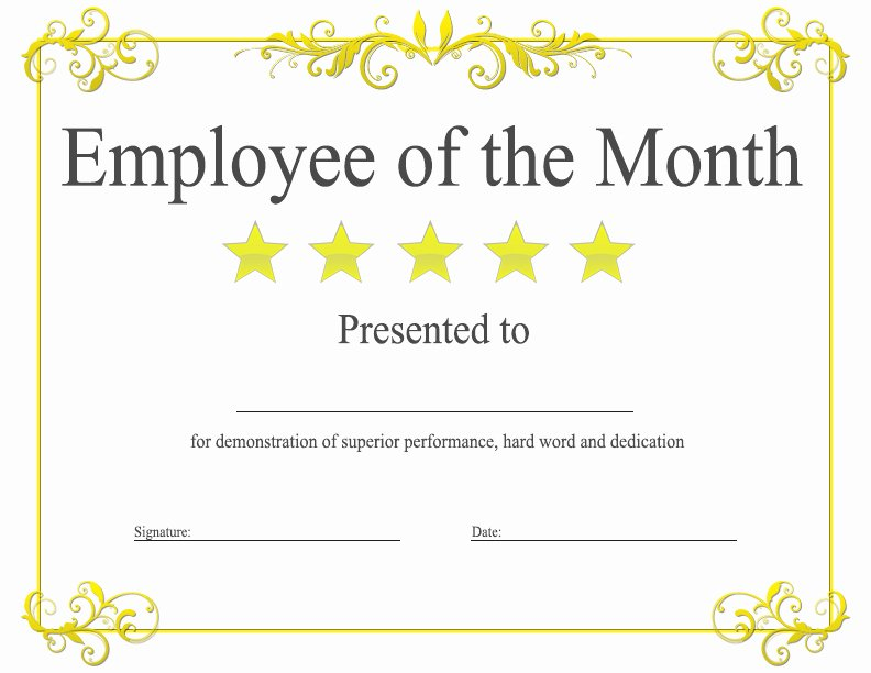 Employee Of the Year Award Template Unique Employee Of the Month Award Kukook