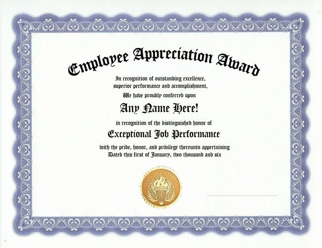 Employee Recognition Cards Printable Inspirational Employee Appreciation Award Certificate Office Job Work