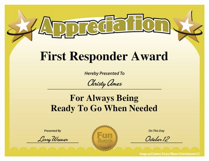 Employee Recognition Cards Printable Unique First Responder Award Work Pinterest