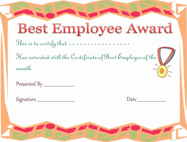 Employee Recognition Cards Template Awesome Best Employee Award Certificate Template
