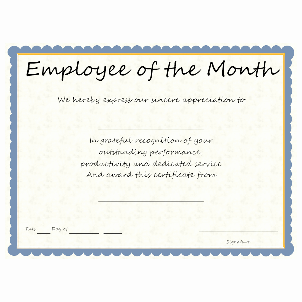 Employee Recognition Cards Template Awesome Employee Of the Month Award
