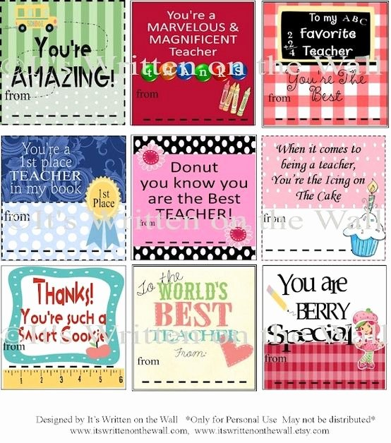 Employee Recognition Cards Template Elegant Free Printable Gift Tag Templates for Teacher Appreciation
