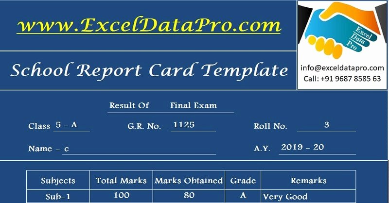 Employee Report Card Template Awesome Download School Report Card and Mark Sheet Excel Template