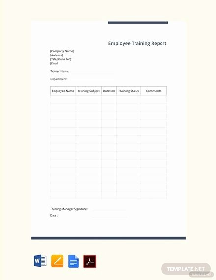 Employee Report Card Template Awesome Free Training Report Card Template Psd