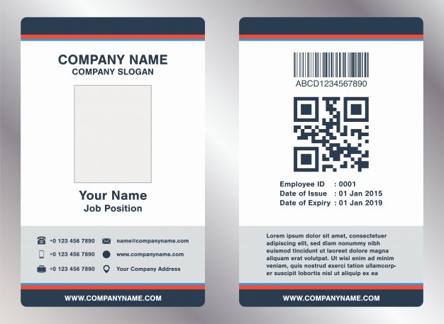 Employee Report Card Template Awesome Simple Landscape Employee Id Card Template Vector Vector