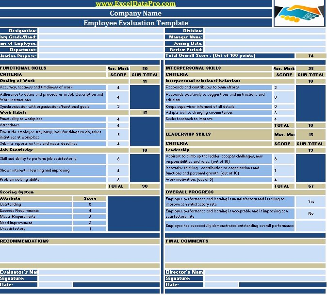 Employee Report Card Template Beautiful Download Employee Performance Evaluation Excel Template