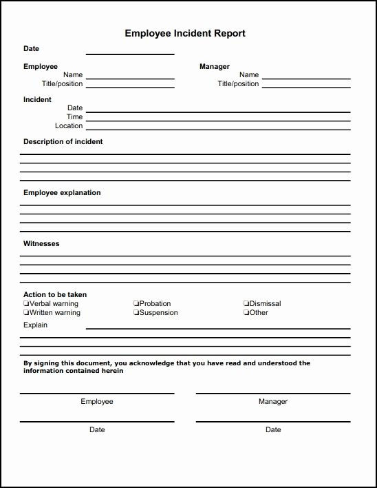 Employee Report Card Template Best Of Employee Incident Report Template