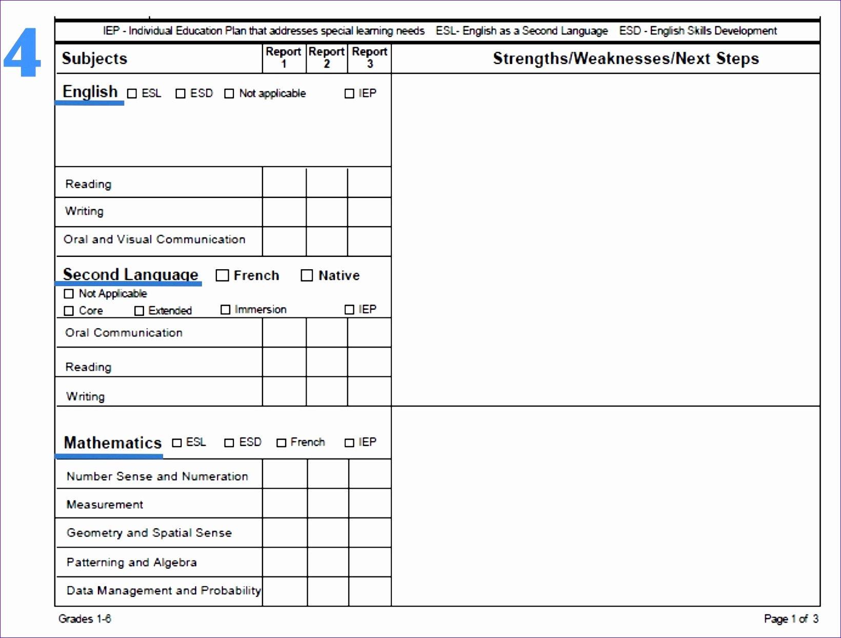 Employee Report Card Template Luxury 7 Microsoft Excel Report Card Template Exceltemplates