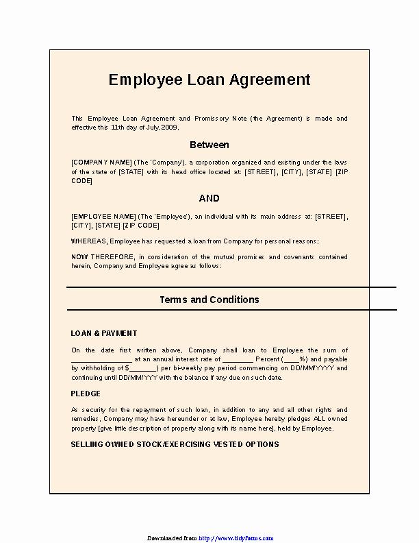 Employees Loan Agreement Best Of Employee Loan Agreement 2 Pdfsimpli